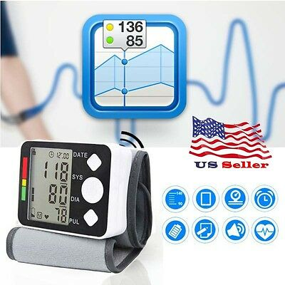 Monitor Cuff Heart Beat Rate Pulse Meter Digital Automatic Wrist Blood Pressure.