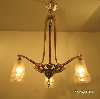 Wonderful French Art Deco Chandelier 1925 - Bronze -