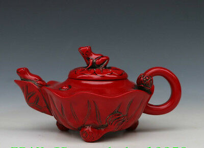 Chinese handwork Red coral Turquoise Hand-Carved frog Tea Pot