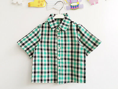 NEW Baby Boys Gingham Check Cotton Plaid Cotton Shirt Top Size 0-6-12-18 months