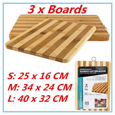 3 pc Premium Carbonized Kitchen Bamboo Cutting Chopping Board Set With Hook FD