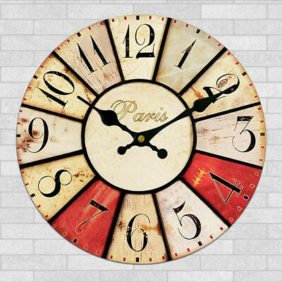 Wall Clock Wooden Rustic Retro Shabby Chic Home Kitchen Decor Art Gifts #16