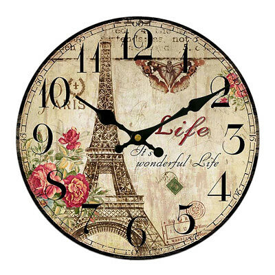 Wall Clock Wooden Rustic Retro Shabby Chic Home Kitchen Decor Art Gifts #6