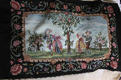 Vintage Antique French wool needlework tapestry needlepoint 19th century