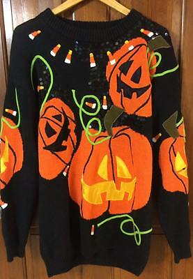 Vtg Spree International Size M Halloween Ugly Sweater Tunic W/ Shoulder Pads '92