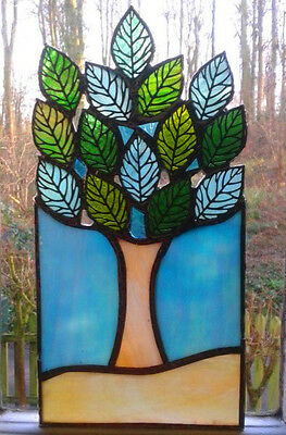 STAINED GLASS TREE PANEL.. Handmade by The Stained Glass Panel Studio.