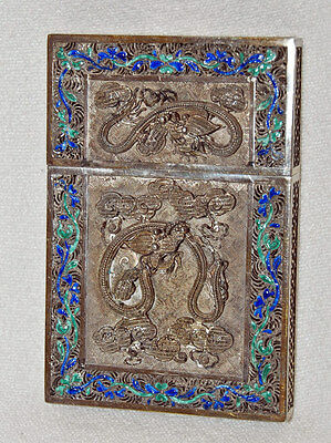 Antique Chinese Export Silver & Enamel Calling Card Case Filigree - Dragons