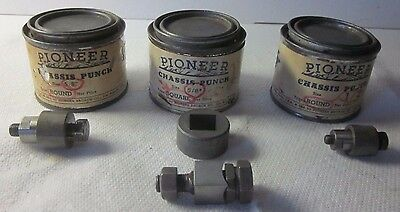 """Vintage 3 Pioneer Broach Co  Square Radio Chassis Punchs:5/8"""" sq.,5/8"""" r.& 1/2""""r"""