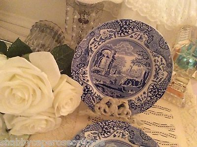 SPODE DESSERT PLATE 4 PIECE SET BLUE ITALIAN PATTERN ENGLAND Excellent Condition