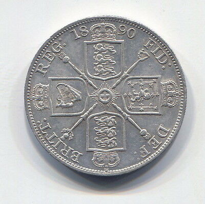 Great Britain - Fantastic Scarce Qv Silver Double Florin, 1890