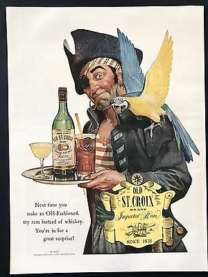 1944 Vintage Print Ad OLD ST CROIX Rum Pirate Parrot Bird Illustration Art
