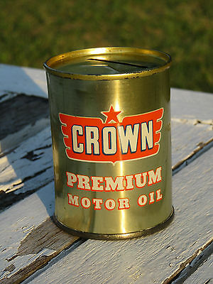 Vintage Crown Motor Oil Can Bank 1950's Oil Advertisement   (618)