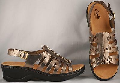 e3b6983cfd65 Women s Clarks Bendable Lexi Marigold Leather Ankle Strap Wedge Sandals 10 M