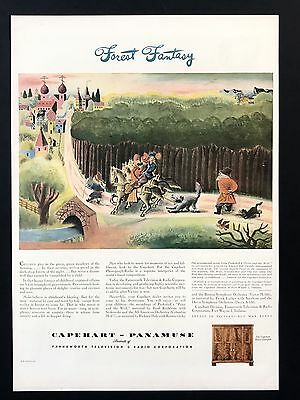 1944 Vintage Print Ad CAPEHART PANAMUSE Forest Fantasy Illustration Horses