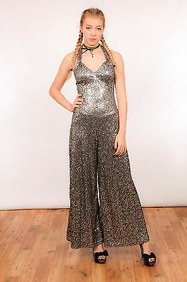 Vintage inspired silver sequin Palazzo jumpsuit made by Pat Farmer costume maker