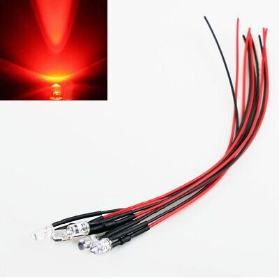 10x Red LED Light Individual Single Bulb with Attached Pre-Wired Bright 12V DC