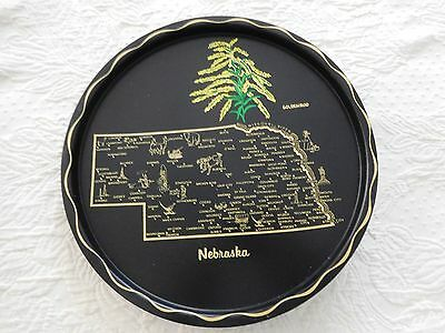 Nebraska Vintage Decorative Metal State Tray Plate 11 inch Goldenrod