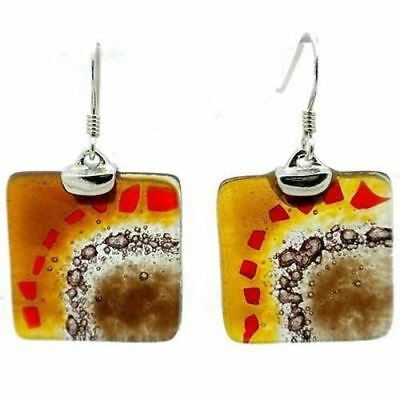 Golden Earth Translucent Square Glass Sterling Silver Earrings Tili Glass Chile