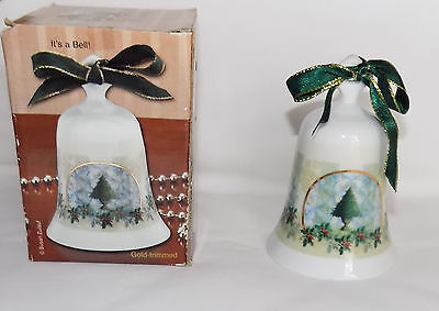 "Giftco Seasons Greetings Porcelain Gold Trimmed Christmas Tree Bell 4"" Tall"