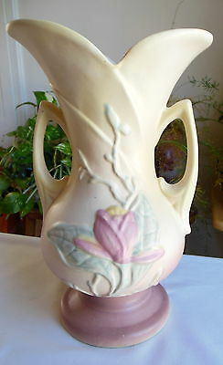 Hull Art Pottery Magnolia Double Handled Vase USA-8 10 ½ Matte Repaired AS IS