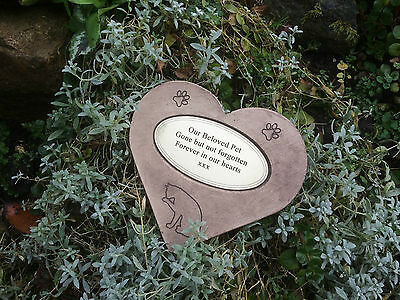Pet Cat Silhouette and Paws Personalised Memorial Stone Heart & Gold Oval Plaque