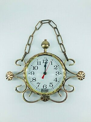 Wall clock quartz wrought iron coppery medium