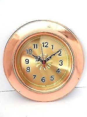 Wall Clock Copper Polished Fire Pit with Quartz Movement