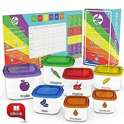 SDC - 7 Piece Portion Control Containers Kit Comparable to 21 Day Fix with Co...