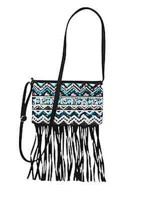 Justice Tribal Sequin Fringe Crossbody Purse NEW