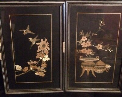 Japanese Oriental Chinese Vintage Black Pictures with Wood - Bamboo inlay, Birds