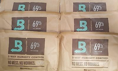 (6) Boveda 69% Packs 2-Way Humidor Control Large 60 gram Sealed Packets