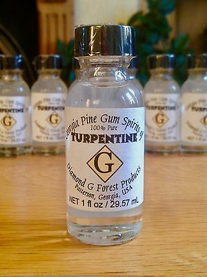 100% Pure Gum Spirits of Turpentine by Diamond G Forest, 1 oz bottle