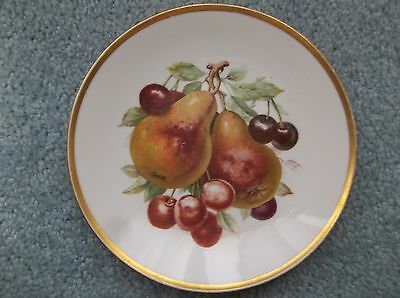 "Mitterteich Bavaria Germany  7 1/2"" Salad Plate Fruit Pears Cherries Gold Trim"