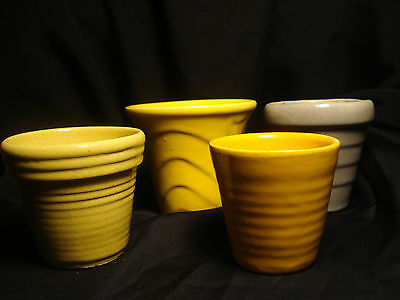 Vintage mini McCoy or Bauer Planters USA Grey Yellow LOT of (4)