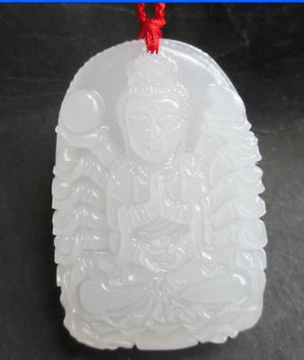 Hetian jade white jade carved statues China of 1000 hands guanyin pendant