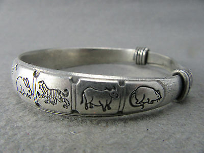 Collectible Decorate Handwork Tibet - silver Chinese 12 Zodiac Pair Bracelet