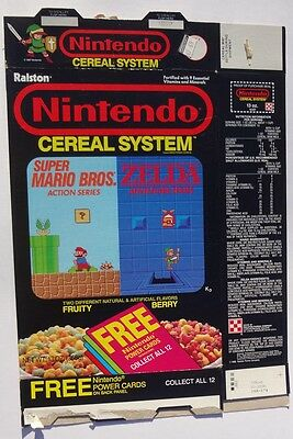 1988 Nintendo Cereal System Cereal Box power card offer