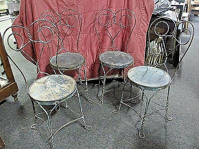 4 Matching Ice Cream Parlor Chairs USA Made Twisted Metal All Original So.Jersey