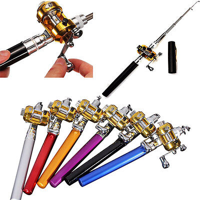 95cm Mini Pocket Fish Pen Shape Aluminum Alloy Fishing Rod Pole with Reel