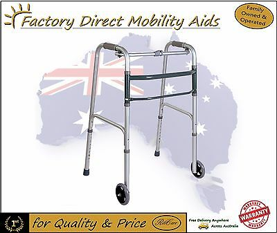Folding Walking frame / Zimmer / Walker Free Wheels Stock Mobility aid