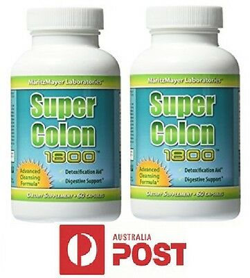 2 x Super Colon CLEANSE 60 CAPS 1800 WEIGHT LOSS BODY DETOX Max Strength