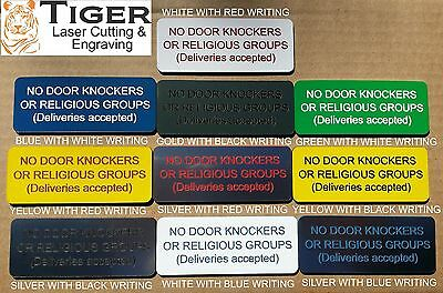 No Door Knockers - Laser Engraved Sign - Assorted Colours - 10Cm X 4Cm - Tlc-003