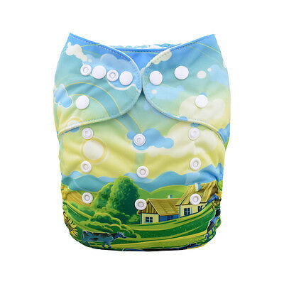 1 Baby Cloth Diaper Nappy Reusable Washable Pocket Microfleece Cow Country