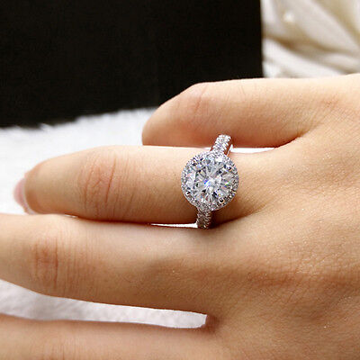 Brilliant Moissanite 3 Ct 9mm Round Cut Engagement Ring in 14k White Gold F VVS