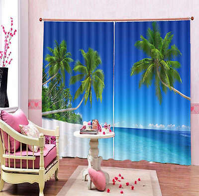 Big Coconut Tree beach 3D Curtain Blockout Photo Print Curtains Fabric Window