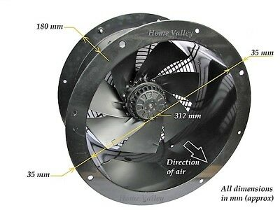 """Industrial Commercial Cased Axial Extractor Duct Fan 300mm (12"""")"""