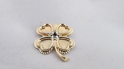 """VINTAGE 14K YELLOW GOLD FOUR LEAF CLOVER Brooch / Pin """"No Stone"""""""