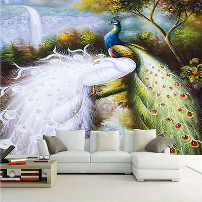 White And Color Peacock Full Wall Mural Photo Wallpaper Print Home Kids 3D Decal