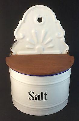 RARE ART DECO ENAMEL WARE SALT PIG CANISTER WALL CADDY RETRO KITCHENWARE 1930's