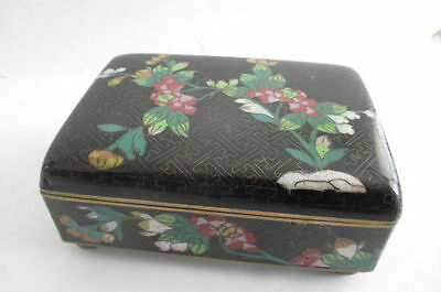 Vintage Antique Chinese Cloisonne Enamel Floral Footed Box w/ Brass Hinges